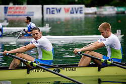 Brothers Luka Spik and  Jan Spik before finals at Rowing World Cup  on May 30, 2010, at Bled's lake, Bled, Slovenia. (Photo by Vid Ponikvar / Sportida)