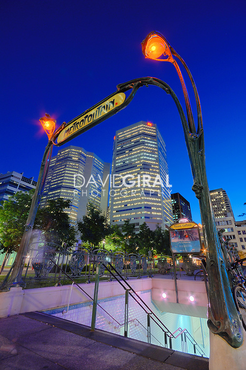 Picture of Square Victoria in Quartier international district in Old Montreal at the blue hour, Quebec, Canada