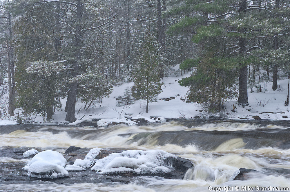 The North Branch of the Muskoka River at Wilson's Falls in winter. Muskoka Country.<br />
