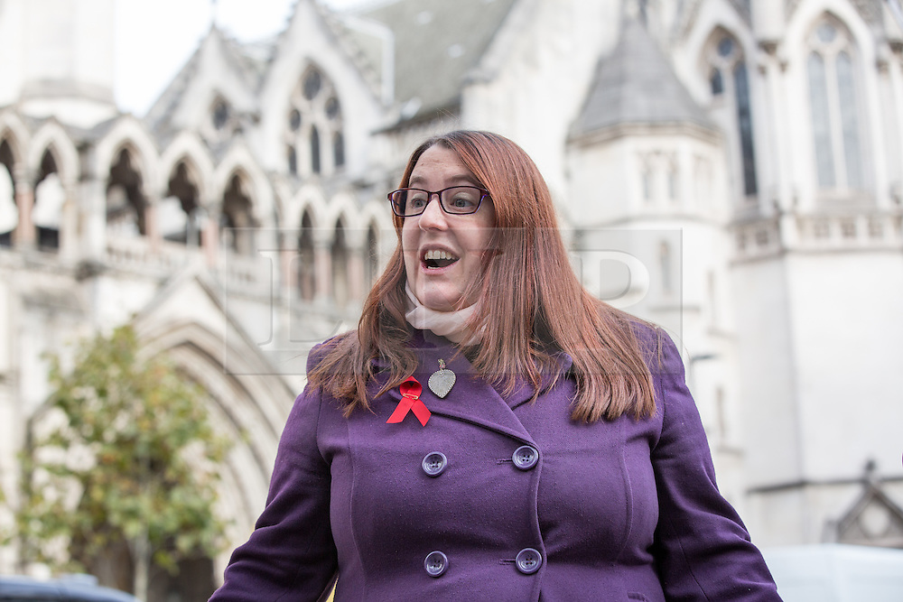 "© Licensed to London News Pictures. 10/11/2016. London, UK. Deborah Gold, Chief Executive of National AIDS Trust makes a statement outside the High Court, as NHS England lose their appeal against a High Court Judge, who ruled that the body has the power to commission pre-exposure prophylaxis (PrEP), a drug described as a ""game changer"" in the fight against HIV/AIDs. NHS England argued that providing the drug was not its responsibility, and it was for local councils to fund ""preventative"" health treatment. Photo credit : Tom Nicholson/LNP"