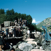 21 May 1976<br /> Spectators watching removal operation. Lalmi plots in background.