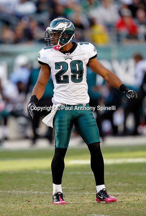 Philadelphia Eagles safety Nate Allen (29) looks on during the NFL week 6 football game against the Atlanta Falcons on Sunday, October 17, 2010 in Philadelphia, Pennsylvania. The Eagles won the game 31-17. (©Paul Anthony Spinelli)