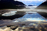 Fog forming in the Kongakut River valley as a storm passes at midnight in the Arctic National Wildlife Refuge of Alaska