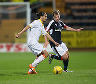 Partick Thistle&rsquo;s Ryan Edwards and Dundee&rsquo;s Paul McGowan - Dundee v Partick Thistle in the Ladbrokes Scottish Premiership at Dens Park, Dundee. Photo: David Young<br /> <br />  - &copy; David Young - www.davidyoungphoto.co.uk - email: davidyoungphoto@gmail.com