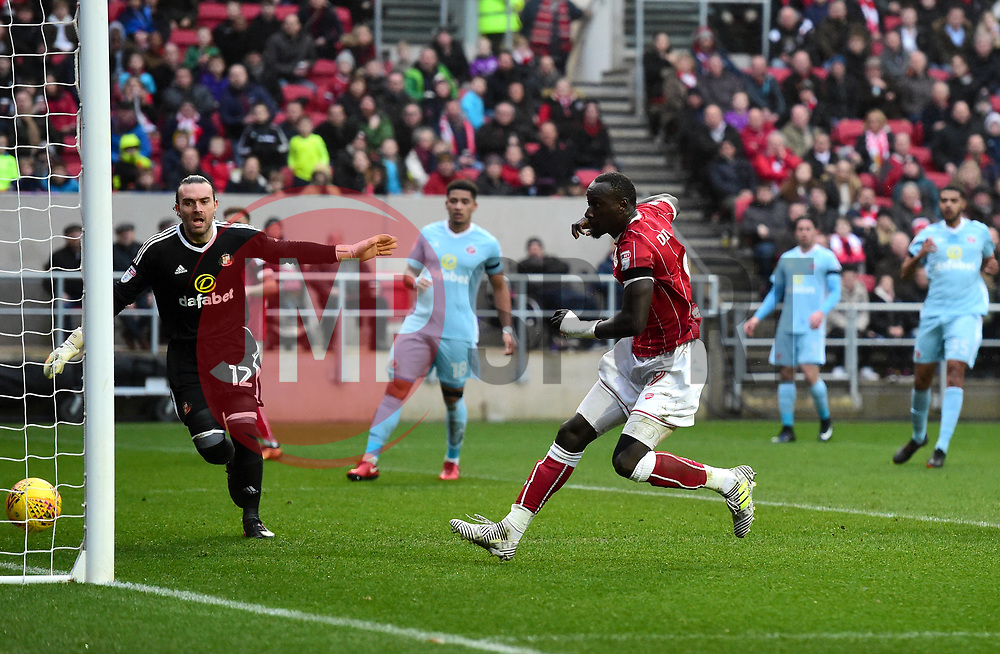 Famara Diedhiou of Bristol City sees his effort ruled out for hand ball  - Mandatory by-line: Joe Meredith/JMP - 10/02/2018 - FOOTBALL - Ashton Gate Stadium - Bristol, England - Bristol City v Sunderland - Sky Bet Championship