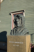 Statue of Norwegian Polar Explorer Roald Amundsen at the Polar Museum in Tromso, Norway.