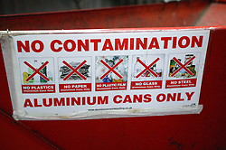 Skip for aluminium cans at Ollerton recycling plant,