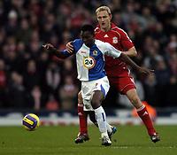 Photo: Jonathan Butler.<br />Blackburn Rovers v Liverpool. The Barclays Premiership. 26/12/2006.<br />Shabani Nonda of Blackburn holds off Sami Hyypia of Liverpool.