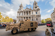 The Royal Engineers - The new Lord Mayor (Peter Estlin, the 691st) was sworn in yesterday. To celebrate, today is the annual Lord Mayor's Show. It includes Military bands, vintage buses, Dhol drummers, a combine harvester and a giant nodding dog in the three-mile-long procession. It brings together over 7,000 people, 200 horses and 140 motor and steam-driven vehicles in an event that dates back to the 13th century. The Lord Mayor of the City of London rides in the gold State Coach.