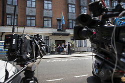 © Licensed to London News Pictures. 21/06/2017. London, UK. TV news cameras focus on the King Edward VII's hospital in west London where Prince Philip, The Duke of Edinburgh has been admitted to hospital following an an infection. Photo credit: Peter Macdiarmid/LNP
