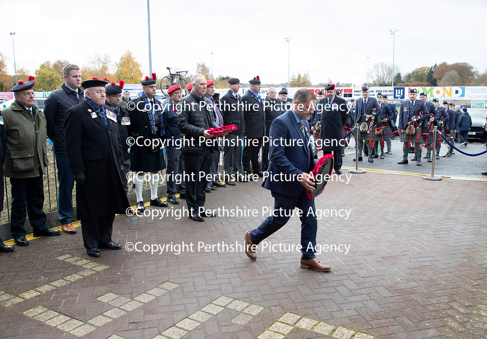 St Johnstone v Hibs…..09.11.19   McDiarmid Park   SPFL<br />Chairman Steve Brown lays a wreath at McDiarmid Park to mark Remembrance Day<br />Picture by Graeme Hart.<br />Copyright Perthshire Picture Agency<br />Tel: 01738 623350  Mobile: 07990 594431