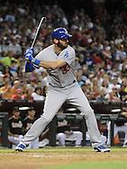 Jul 10, 2013; Phoenix, AZ, USA;  Los Angeles Dodgers outfielder Scott Van Slyke (33) at bat against the Arizona Diamondbacks at Chase Field.  The Dodgers defeated the Diamondbacks 7-5 in extra innings.  Mandatory Credit: Jennifer Stewart-USA TODAY Sports