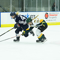 1st year forward Martina Maskova (11) of the Regina Cougars in action during the Women's Hockey home game on October 14 at Co-operators arena. Credit: Arthur Ward/Arthur Images