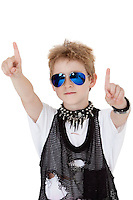 Portrait of punk kid pointing with arms raised over white background