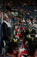 KELOWNA, CANADA - JANUARY 28: Equipment manager, Mark Brennan, stands on the bench against the Kelowna Rockets on January 28, 2017 at Prospera Place in Kelowna, British Columbia, Canada.  (Photo by Marissa Baecker/Shoot the Breeze)  *** Local Caption ***