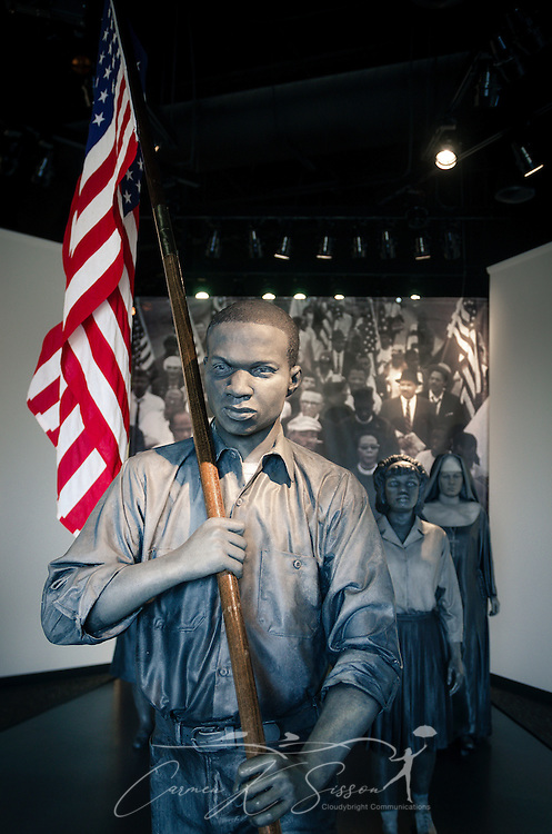 "Bronze statues displaying the ""foot soldiers"" of the Selma to Montgomery civil rights March are displayed at Lowndes Interpretive Center, Feb. 3, 2015, in Hayneville, Ala. (Photo by Carmen K. Sisson/Cloudybright)"