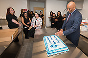 Harris County Department of Education Superintendent James Colbert jokes with staff before a ribbon cutting ceremony for the new Baytown Head Start and Early Head Start facility, May 23, 2019.