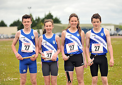 Claremorris Under 15 mixed relay team Sean Joyce, Aoife Bermingham, Joanne Regan and James Jennings, at the Mayo Commmunity Games finals in Claremorris. <br /> Pic Conor McKeown