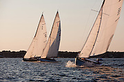 Argument, Lucky Pierre, and  Vindex sailing in the Herreshoff S Class division of the Newport Yacht Club Tuesday night racing series.