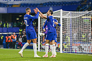Chelsea celebrate an own goal by Derby County defender Fikayo Tomori (5) during the EFL Cup 4th round match between Chelsea and Derby County at Stamford Bridge, London, England on 31 October 2018.