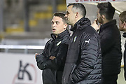 Forest Green Rovers academy manager Scott Bartlett and Forest Green Rovers U18 manager Chris Barker during the The FA Youth Cup match between Bristol Rovers and Forest Green Rovers at the Memorial Stadium, Bristol, England on 2 November 2017. Photo by Shane Healey.