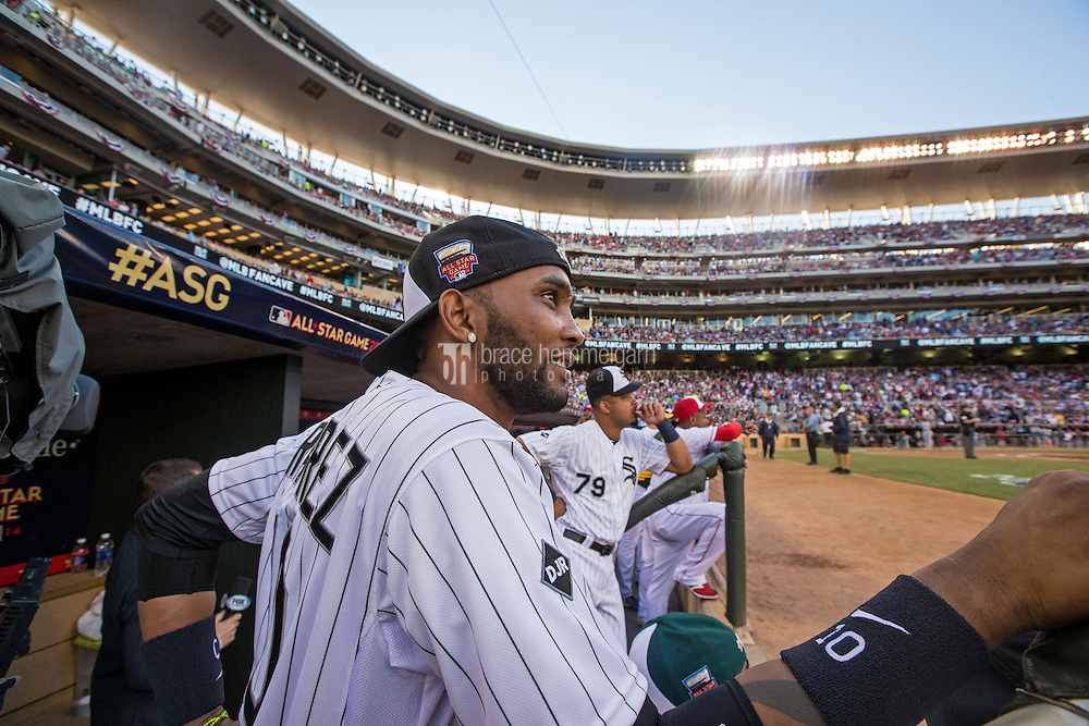 MINNEAPOLIS, MN- JULY 15: American League All-Star Alexei Ramirez #10 of the Chicago White Sox during the 85th MLB All-Star Game at Target Field on July 15, 2014 in Minneapolis, Minnesota. (Photo by Brace Hemmelgarn) *** Local Caption *** Alexei Ramirez