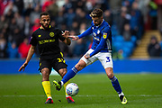 Cardiff City defender Joe Bennett (3) and Brentford midfielder Bryan Mbeumo (19) in action during the EFL Sky Bet Championship match between Cardiff City and Brentford at the Cardiff City Stadium, Cardiff, Wales on 29 February 2020.