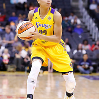 17 June 2014: Los Angeles Sparks guard/forward Armintie Herrington (22) looks to pass the ball during the Minnesota Lynx  94-77 victory over the Los Angeles Sparks, at the Staples Center, Los Angeles, California, USA.