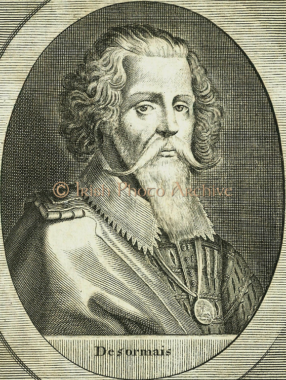 George Clifford, third Earl of Cumberland (1558-1605) English naval commander. Engraving by Michael van der Gucht (1660-1725) for Clarendon's 'History'.