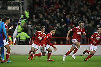 Forest celebrate going ahead through Eric Lichaj's goal  during The Emirates FA Cup Third Round match between Nottingham Forest and Arsenal at City Ground on January 7, 2018 in Nottingham, England..