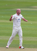 Chris Rushworth  (Durham County Cricket Club) celebrates taking the wicket of Chris Woakes (Warwickshire County Cricket Club) during the LV County Championship Div 1 match between Durham County Cricket Club and Warwickshire County Cricket Club at the Emirates Durham ICG Ground, Chester-le-Street, United Kingdom on 15 July 2015. Photo by George Ledger.