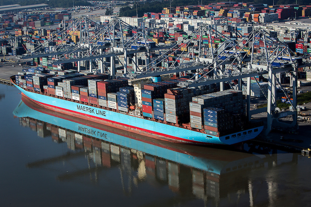 Container ships working at the Georgia Ports Authority Garden City Terminal, Monday,  Oct. 27, 2014, in Savannah, Ga., in Savannah, Ga.  (GPA Photo/Stephen B. Morton)