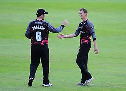 Max Waller and Jim Allenby celebrate a wicket.  - Mandatory by-line: Alex Davidson/JMP - 15/07/2016 - CRICKET - Cooper Associates County Ground - Taunton, United Kingdom - Somerset v Middlesex - NatWest T20 Blast