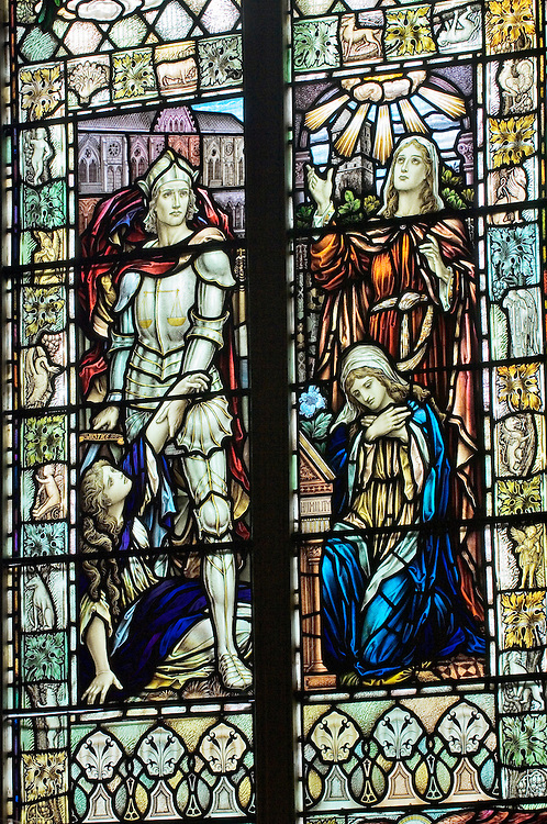 Justice and Humility. 1910 stained glass window by James Ballantyne of Edinburgh. St. Serf's Church, Dunning, Tayside, Scotland