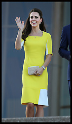 The Duchess of Cambridge walks down the steps of the Sydney Opera House after attending a reception with her husband the Duke of Cambridge following their arrival in Australia, Wednesday, 16th April 2014. Picture by Stephen Lock / i-Images