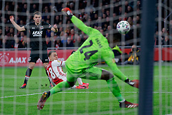 Oussama Idrissi #11 of AZ Alkmaar, Sergino Dest #28 of Ajax, André Onana #24 of Ajax in action during the Dutch Eredivisie match round 25 between Ajax Amsterdam and AZ Alkmaar at the Johan Cruijff Arena on March 01, 2020 in Amsterdam, Netherlands