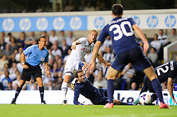 Tottenham Hotspur's Harry Kane takes a shot at goal.  - Photo mandatory by-line: Dougie Allward/JMP - Tel: Mobile: 07966 386802 27/08/2013 - SPORT - FOOTBALL - White Hart Lane - London - Tottenham Hotspur V Dinamo Tbilisi -  UEFA EUROPA LEAGUE - PLAY-OFF - SECOND LEG