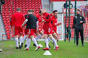 Doncaster Rovers warming up for the EFL Sky Bet League 1 match between Doncaster Rovers and Bristol Rovers at the Keepmoat Stadium, Doncaster, England on 27 January 2018. Photo by Craig Zadoroznyj.