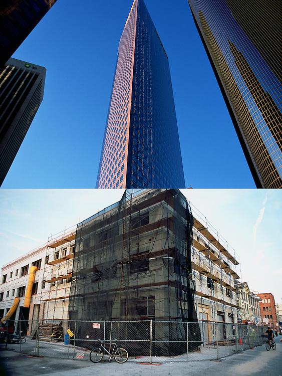 Sofisticados edicifcios de oficinas en el centro financiero de Los Angeles..Esquina de un edificio en remodelación en una calle de Venice Beach.