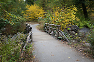 A rustic bridge in the North Woods of Central Park, New York City.