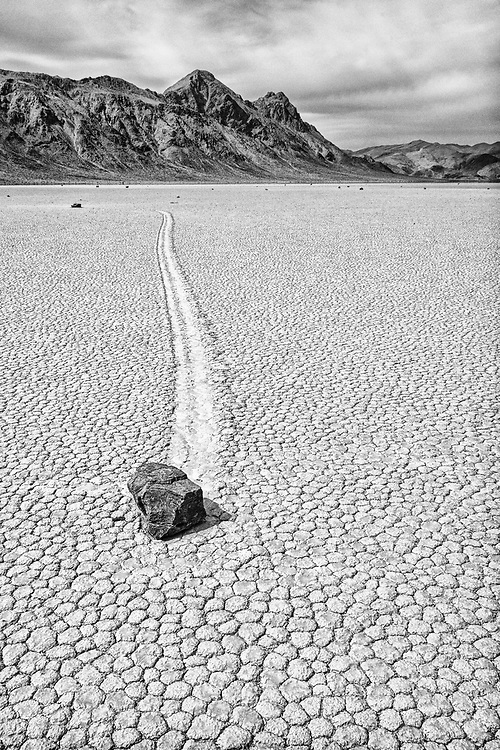 "One of the many amazing ""moving rocks"" of the Racetrack Playa in Death Valley National Park, CA."