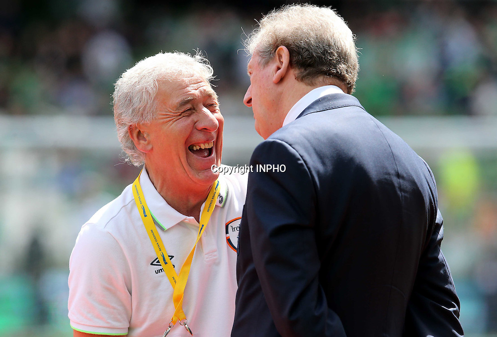 Three International Friendly, Aviva Stadium, Dublin 7/6/2015<br /> Republic of Ireland vs England<br /> England Manager Roy Hodgson with Ireland kit man Mick Lawlor <br /> Mandatory Credit &copy;INPHO/Ryan Byrne