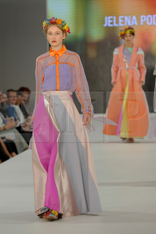 © Licensed to London News Pictures. 04/06/2017. London, UK. A model presents a look by Jelena Podgorbunkski from Edinburgh University on the opening day of Graduate Fashion Week taking place at the Old Truman Brewery in East London.  The event showcases the graduation show of up and coming fashion designers from UK and international universities. Photo credit : Stephen Chung/LNP