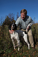 John Edstrom with his English setters at the Pheasants Forever Offices in St. Paul, Minnesota