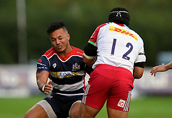 Elias Caven of Bristol United tackles Winston Stanley of Harlequins 'A' Team  - Mandatory by-line: Joe Meredith/JMP - 12/09/2016 - RUGBY - Clifton RFC - Bristol, England - Bristol United v Harlequins A - Aviva A League