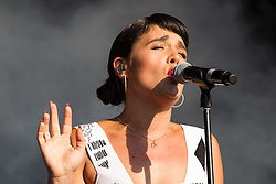 © Licensed to London News Pictures . 08/06/2013 . Heaton Park , Manchester , UK . Jessie Ware performs on the main stage . Day 1 of the Parklife music festival in Manchester on Saturday 8th June 2013 . Photo credit : Joel Goodman/LNP