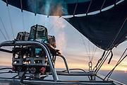 Hot air balloon gas burner and flame