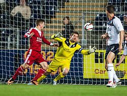 Falkirk's keeper Michael McGovern saves again. Falkirk 0 v 5 Aberdeen, the third round of the Scottish League Cup.<br /> &copy;Michael Schofield.