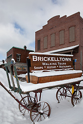 """Brickelltown Wagon"" - This old snow covered wagon was photographed in Downtown Truckee, CA."