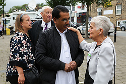 © Licensed to London News Pictures. 16/06/2017. Birstall, UK. Jean Leadbeater, Jo Cox's mother (Right), in Birstall town square where the Labour MP was murdered a year ago today. Events are planned to take place across the country this weekend in memory of Jo Cox in what is being called 'The Great Get Together'. Credit: Ian Hinchliffe Photo credit : Ian Hinchliffe/LNP